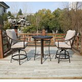 Rolla Outdoor 3 Piece Bar Height Dining Set with Cushions