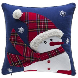 Twinkle Snowman 100% Cotton Throw Pillow