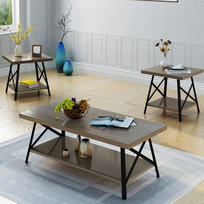 17 Stories Ellefson 3 Piece Coffee and End Table Set Color Gray