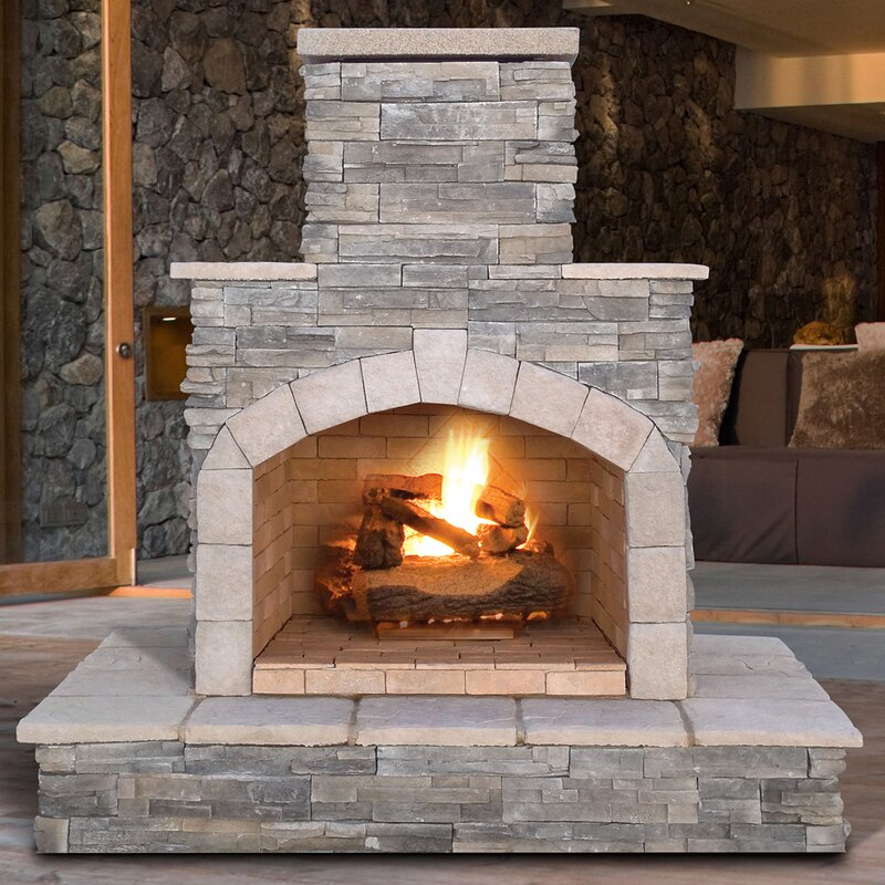 Cal Flame Natural Stone Propane / Gas Outdoor Fireplace & Reviews ...