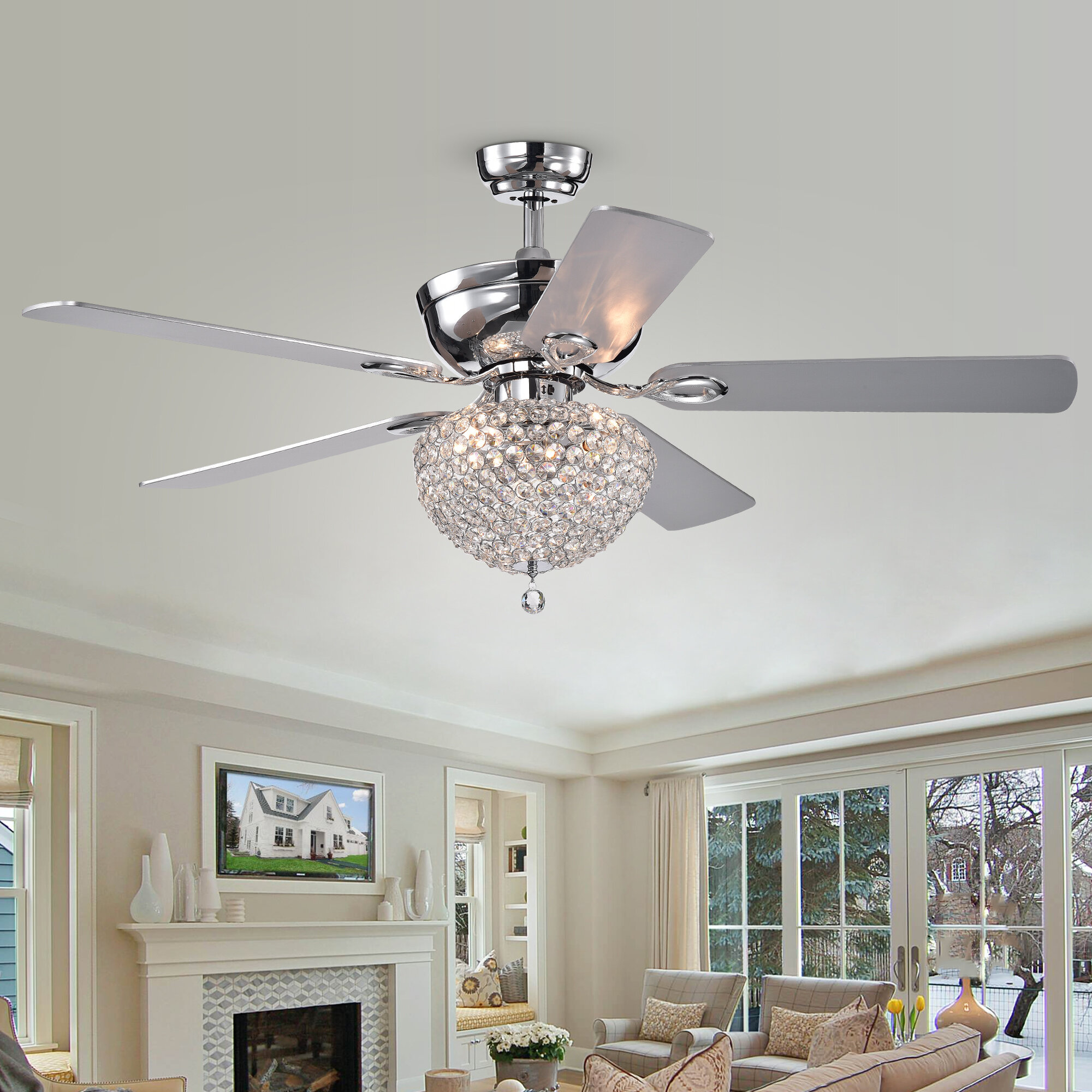 House Of Hampton 52 Yandell 5 Blade Crystal Ceiling Fan With Remote Control And Light Kit Included Reviews Wayfair