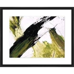 Green Strokes Shadowbox Framed Painting Print