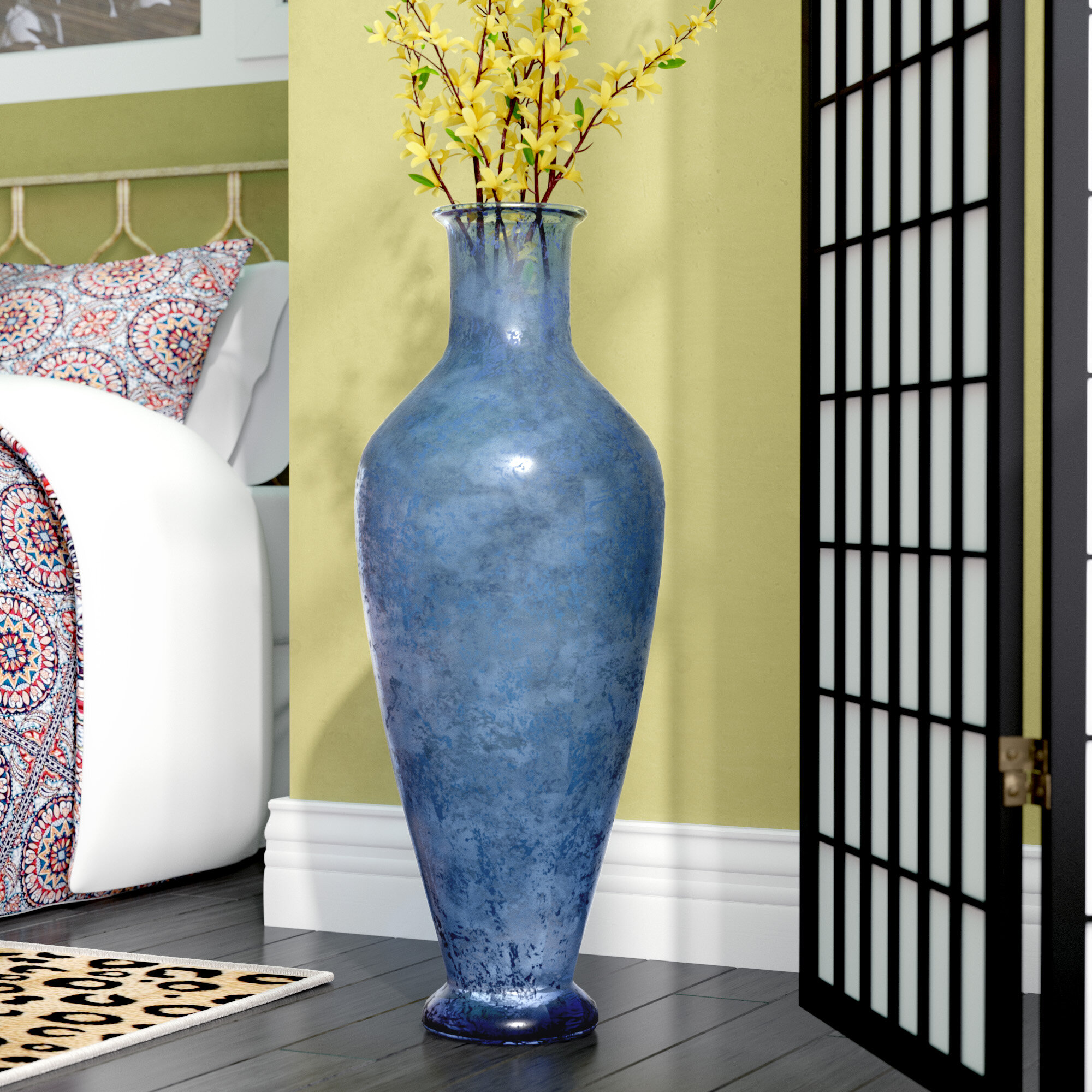 World Menagerie Nash Textured Marina Glass Floor Vase & Reviews