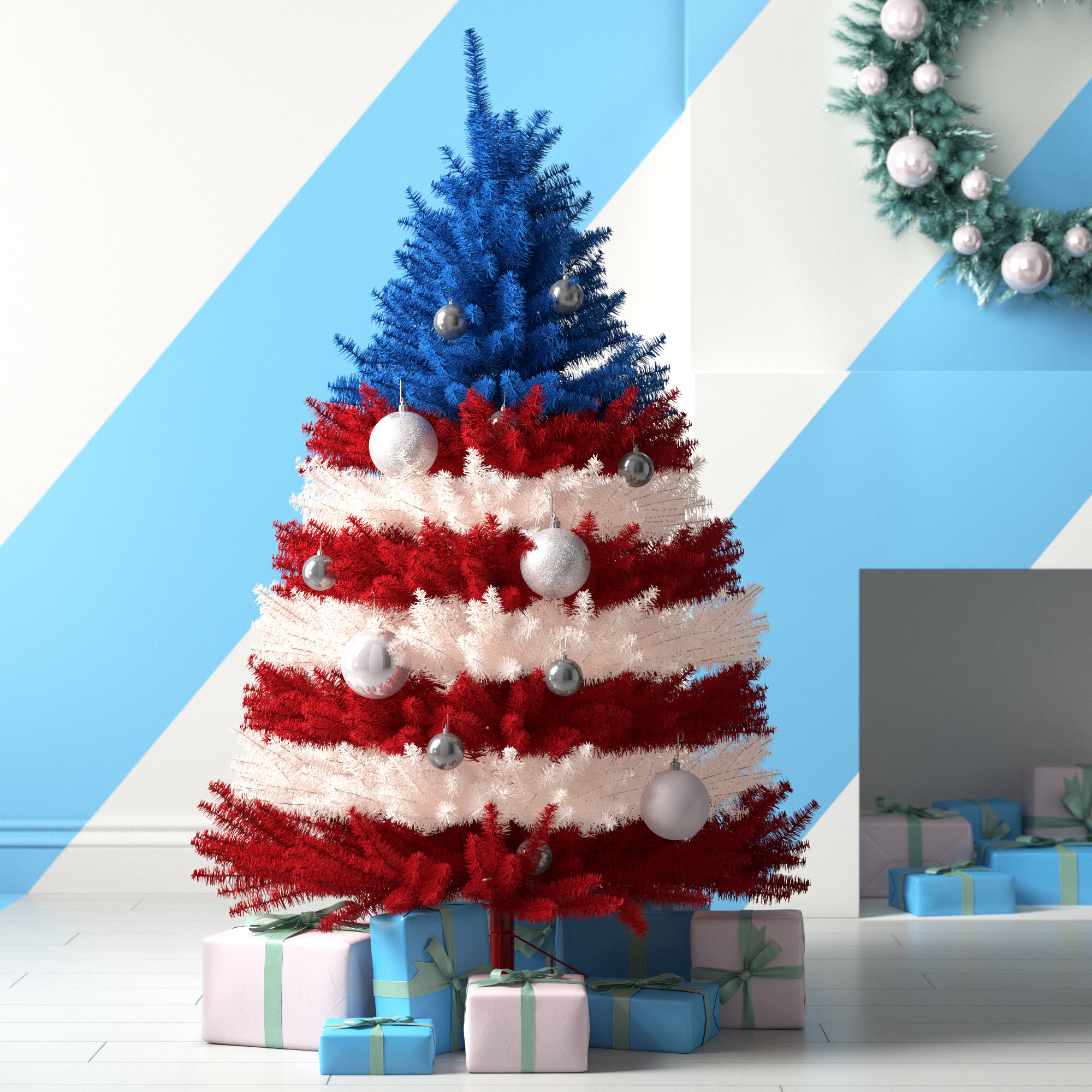 hashtag home patriotic 5 red blue white pine artificial christmas tree with clear white lights reviews wayfair patriotic 5 red blue white pine artificial christmas tree with clear white lights