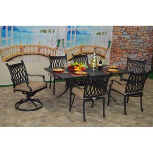 Fleur De Lis Living Baragrey 7 Piece Sunbrella Dining Set with Cushions
