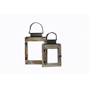 2 Piece Glass/Wood Lantern Set by Millwood Pines