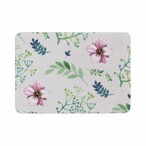 Louise Summer Flower Pattern Memory Foam Bath Rug