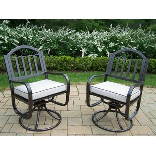 Lisabeth Swivel Patio Dining Chair with Cushion (Set of 2)