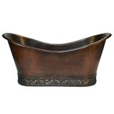 "67"" x 32"" Hammered Copper Double Soaking Bathtub with Scroll Base and Nickel Inlayper Tub"