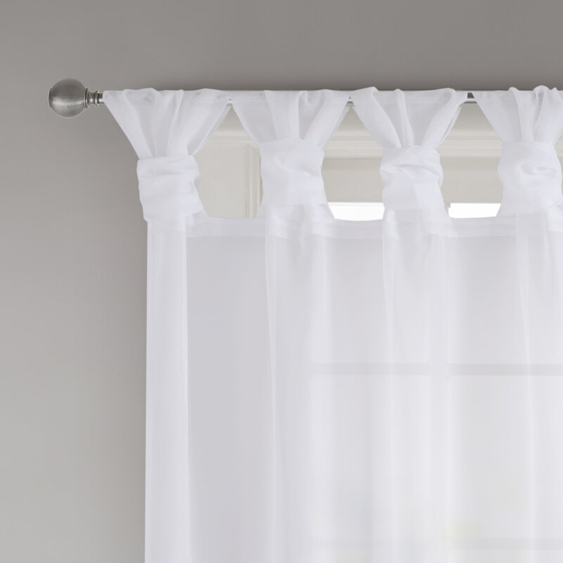 Ophelia Co Kater Twisted Voile Solid Sheer Tab Top Curtain Panels Reviews