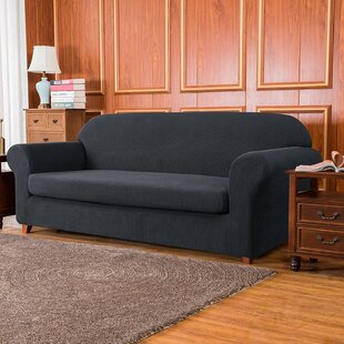 Jacquard High Stretch 2 Seats Box Cushion Loveseat Slipcover by Winston Porter