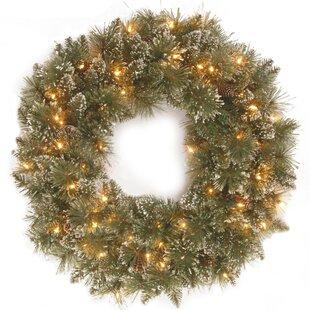 Glittery Bristle 60.96cm Lighted Pine Wreath By The Seasonal Aisle