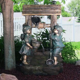 Red Barrel Studio Johson Resin/Fiberglass Children at the Well Outdoor Water Fountain with LED Light
