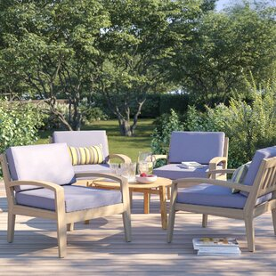 Berkley Wood Frame Armchair with Cushions (Set of 4)