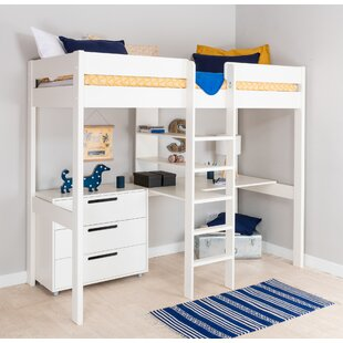Single (3') High Sleeper Bed With Desk And Drawer Chest By Stompa