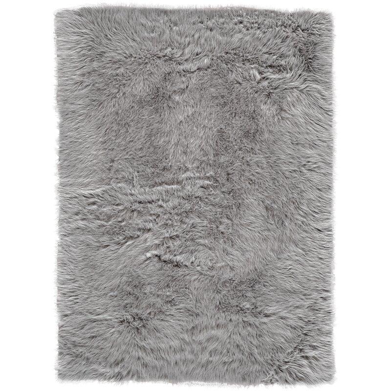 House Of Hampton Linden Faux Fur Gray Area Rug & Reviews