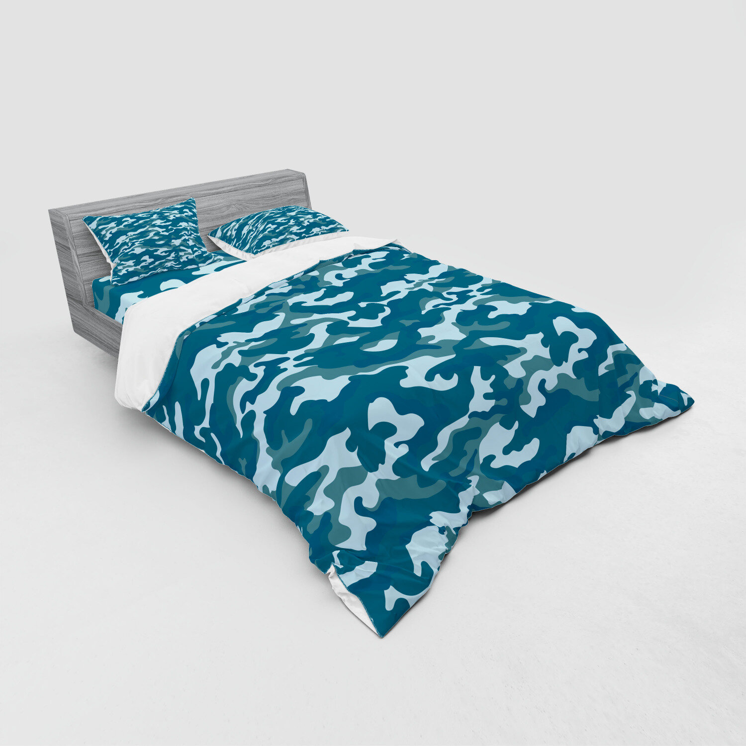 East Urban Home Ambesonne Camo Bedding Set Camouflage Theme In Oceanic Colours Sea Water Inspired Illustration 4 Piece Duvet Cover Set With Shams And Fitted Sheet Queen Size Dark Blue Slate Blue