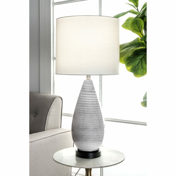 Ezzell Glass and Metal Linen Shade 27 Table Lamp by Bungalow Rose