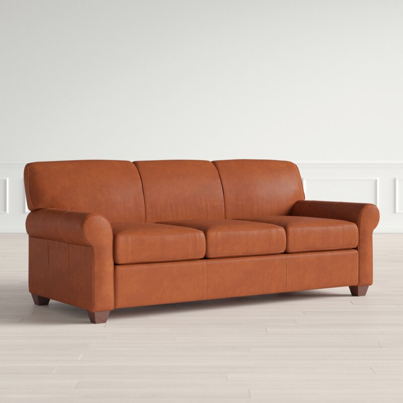 Leather 81 Rolled Arms Sofa Bed