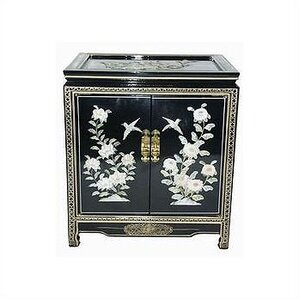 Chinese Birds and Flowers Black End Table by..