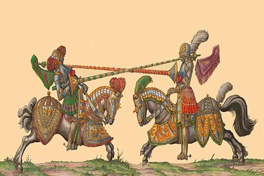 Buyenlarge Lances At The Thrust Between Knights Graphic Art Print Wayfair