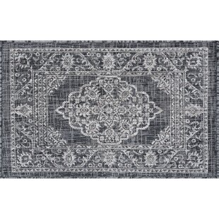 Haxby Traditional Medallion Charcoal Indoor/Outdoor Area Rug