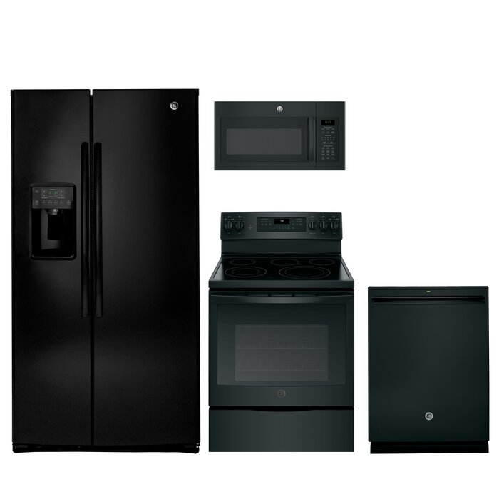4 Piece Side by Side Refrigerator Kitchen Suite with Electric Range