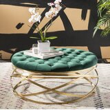 Skye 37.2 Wide Velvet Tufted Round Cocktail Ottoman by Everly Quinn