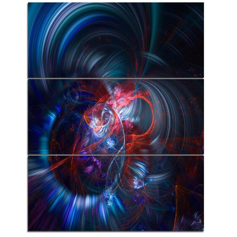 Designart Light Blue Fractal Flower In Dark 3 Piece Graphic Art On Wrapped Canvas Set Wayfair