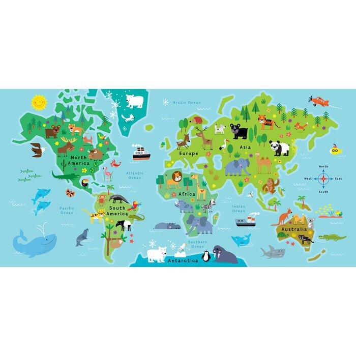 Zoomie kids edwina world map animal pals framed canvas art wayfair edwina world map animal pals framed canvas art gumiabroncs Images