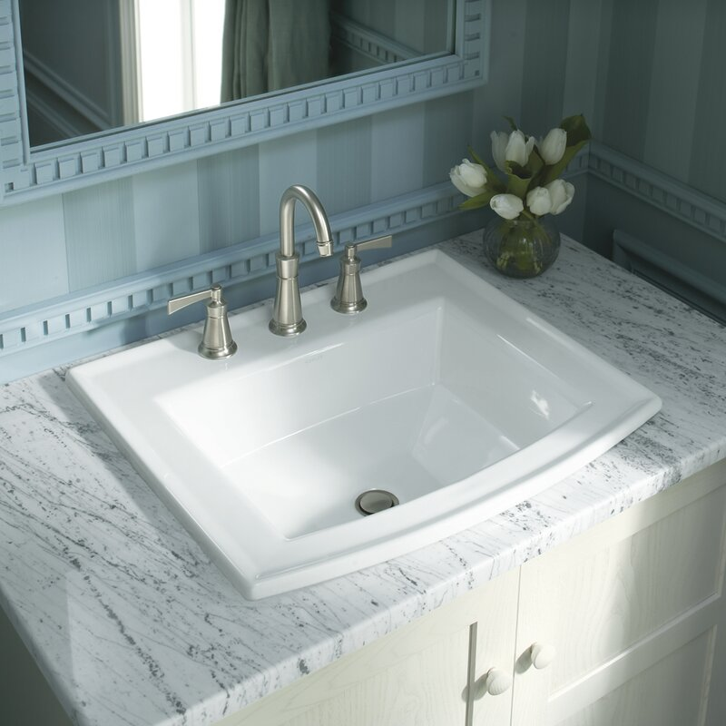Archer® Vitreous China Rectangular Drop In Bathroom Sink With Overflow