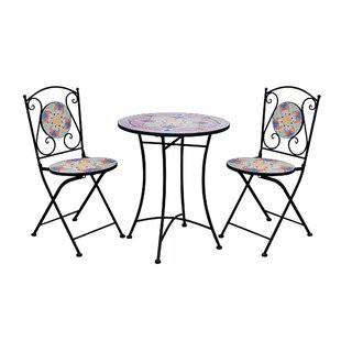 Coben Mosaic 3 Piece Bistro Set by Fleur De Lis Living