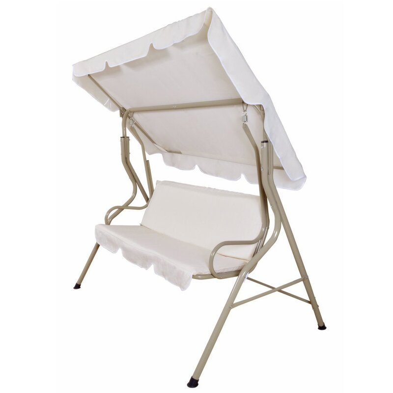 steele patio swing canopy hammock glider bench with cushions charlton home steele patio swing canopy hammock glider bench with      rh   wayfair