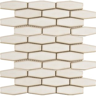 Elongated Hexagon Ceramic Mosaic Tile in Antique White