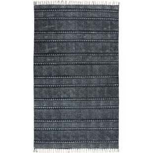 Astin Block Print Hand Woven Cotton Black/Denim Area Rug By Foundry Select