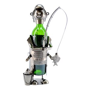 Fisherman with Pale 1 Bottle Tabletop Wine Rack by Three Star Im/Ex Inc.
