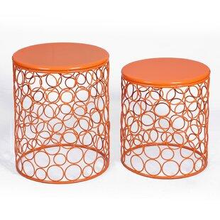 Ebern Designs Cuadra 2 Piece Outdoor Metal Side Table Set