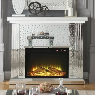 Press Faux Crystal Inlaid Wooden Electric Fireplace With Remote Controller, Silver by Everly Quinn