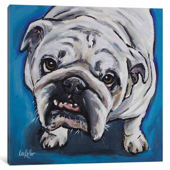 Winston Porter Colorburst Bulldog By Brandon Thomas Painting Print On Canvas Wayfair