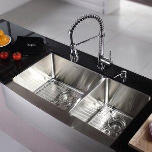 kitchen combos 36 x 21 double basin farmhouseapron kitchen sink with faucet. beautiful ideas. Home Design Ideas
