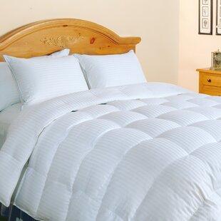 500 Thread Count Damask Stripe Silk and Cotton All Season Down Comforter