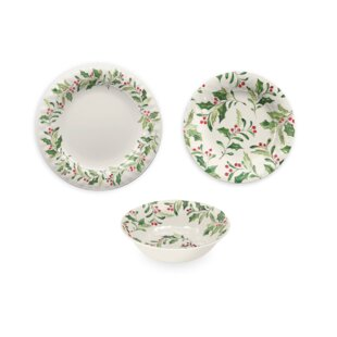 Holly 12 Piece Melamine Dinnerware Set
