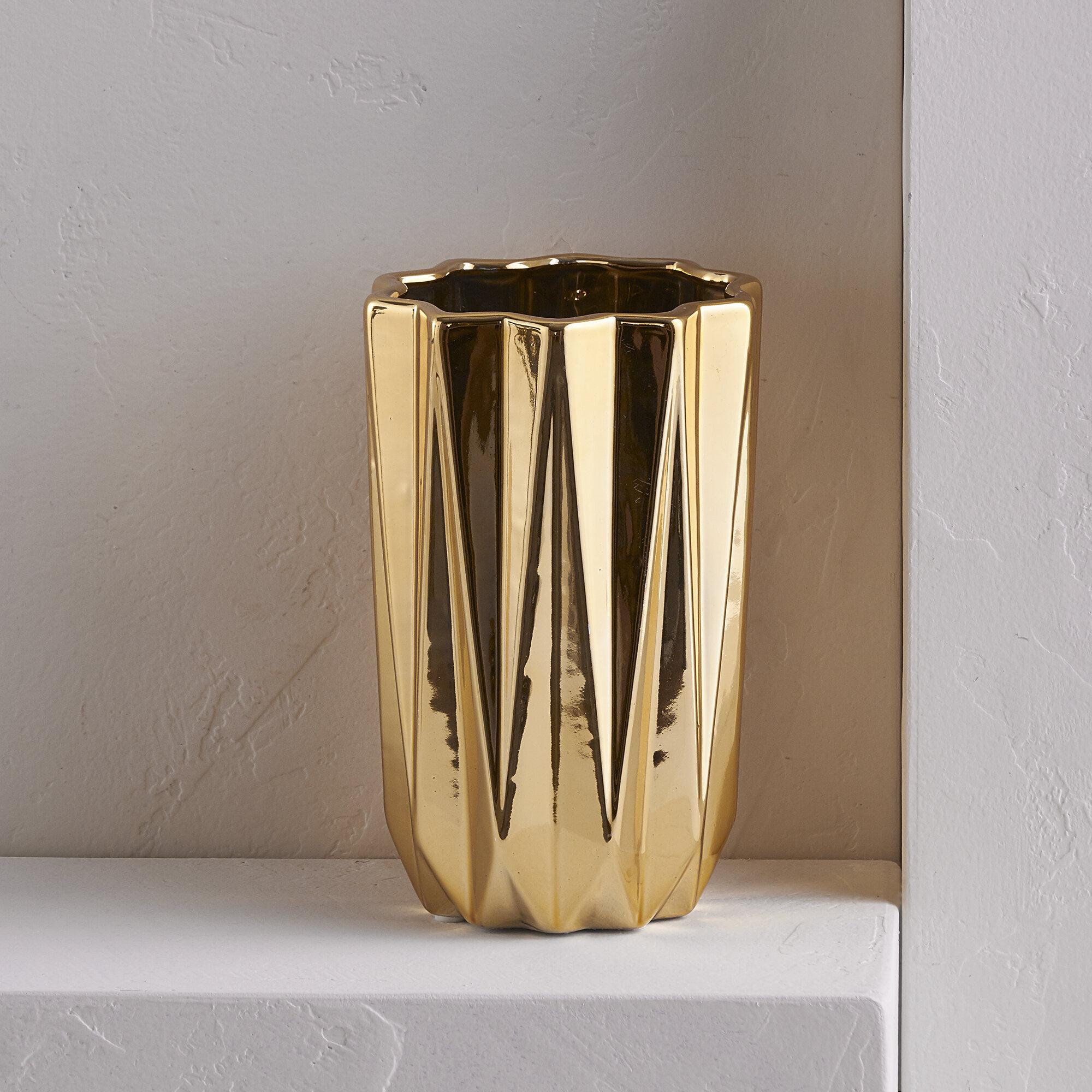 Willa arlo interiors gold cylinder table vase reviews wayfair reviewsmspy