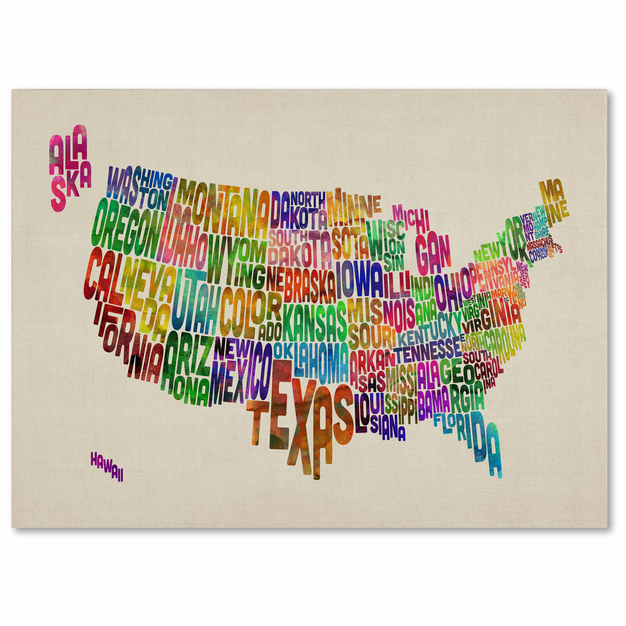 Trademark Art Usa States Text Map By Michael Thompsett Framed Textual Art On Wrapped Canvas Reviews Wayfair