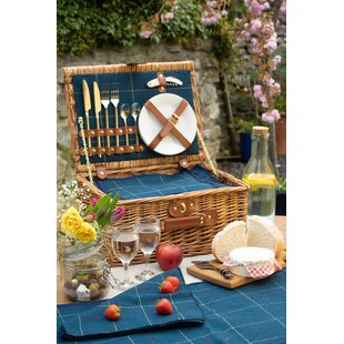 2 Person Tweed Picnic Basket By Union Rustic