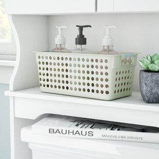 Reviews Rectangular Shelf Organizer Plastic Basket with Handles By Rebrilliant