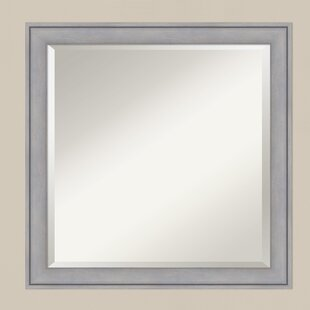 Latitude Run Square Gray Wood Accent Wall Mirror