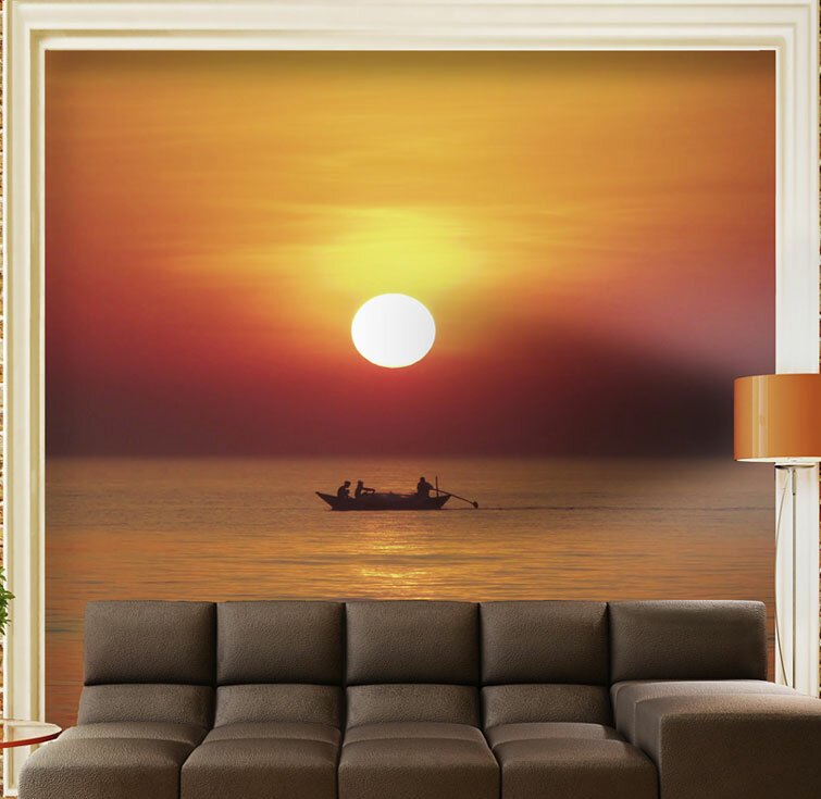 Artgeist Fishing Boat By Sunset 19m L X 250cm W Wallpaper
