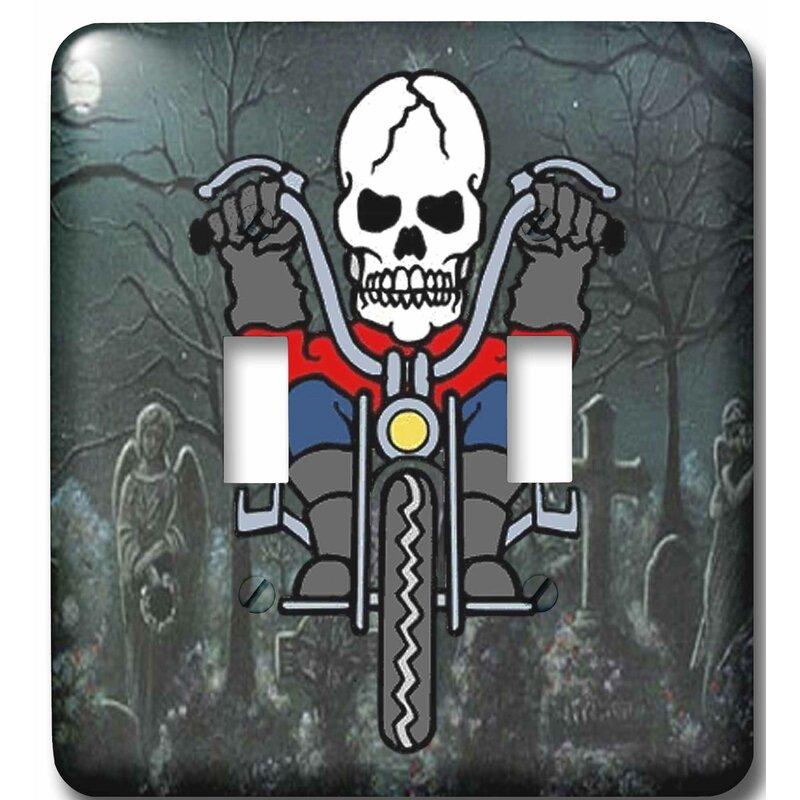 3drose Skeleton Riding A Motorcycle Through Graveyard 2 Gang Toggle Light Switch Wall Plate Wayfair