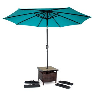 Linke Square PE Rattan Side Table with 4 Sandbags